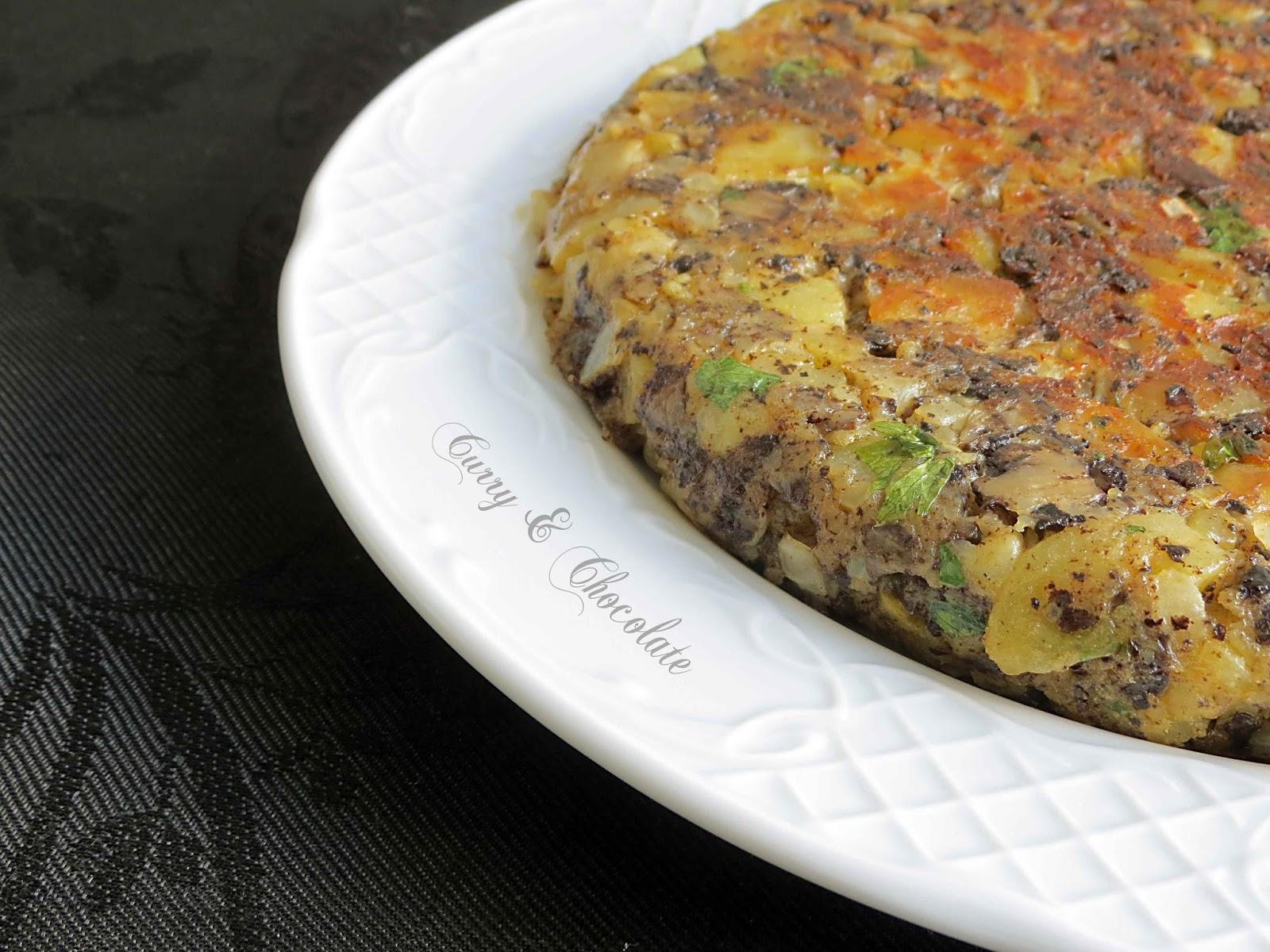 Tortilla de patatas y morcilla de arroz de Burgos