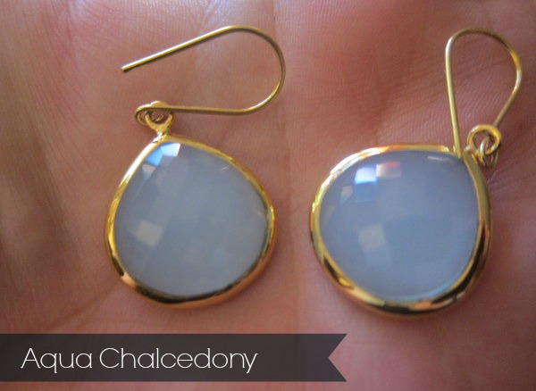 SuShilla candy Pear Ear-rings Aqua Chalcedony