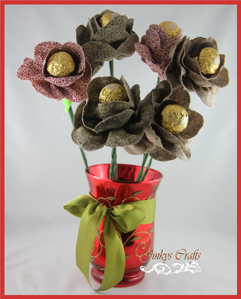 Fabric Flower Chocolate Bouquet - Day 3 - Jinkys Crafts