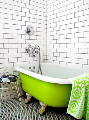 neon green clawfoot tub, subway tile, dark grout