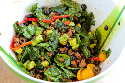 Kalyn's Kitchen®: Baby Kale Paleo Taco Salad with Chile-Lime Dressing