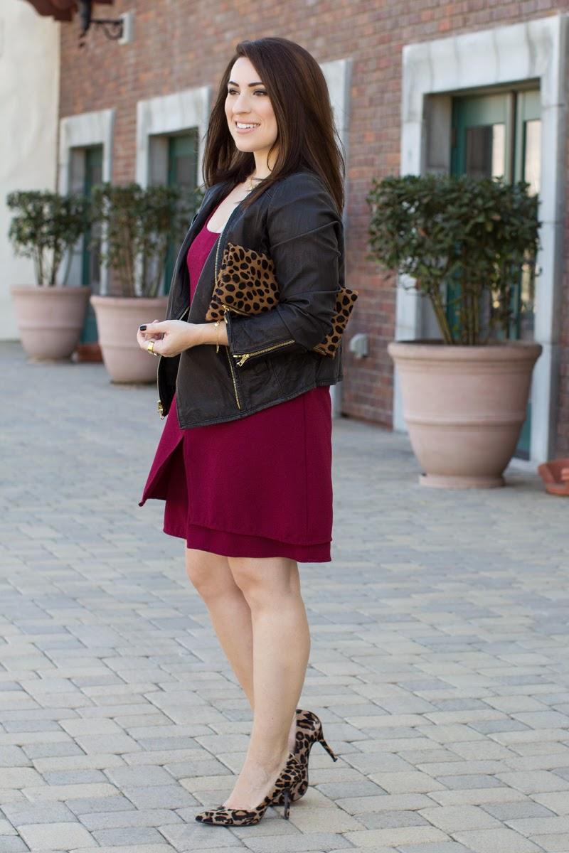 fall outfit idea, burgundy dress, leather jacket