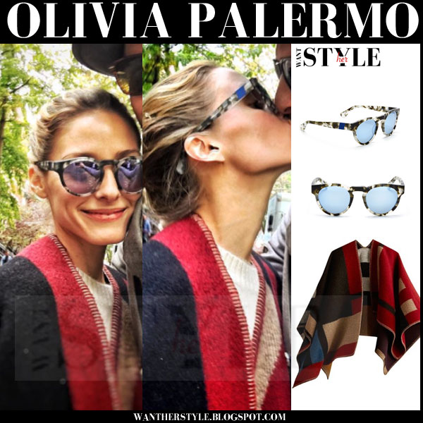 Olivia Palermo in Burberry blanket red poncho with round mirrored westward leaning voyager 9 sunglasses what she wore fall fashion