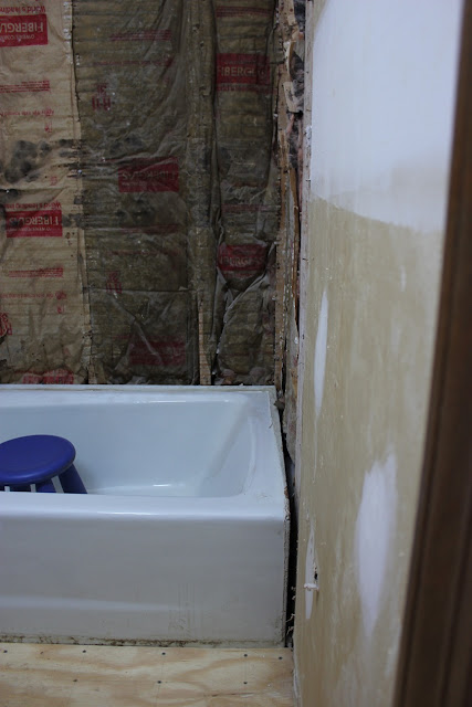 Bullet Proof Gypsum Board : The handcrafted life downstairs bath renovation