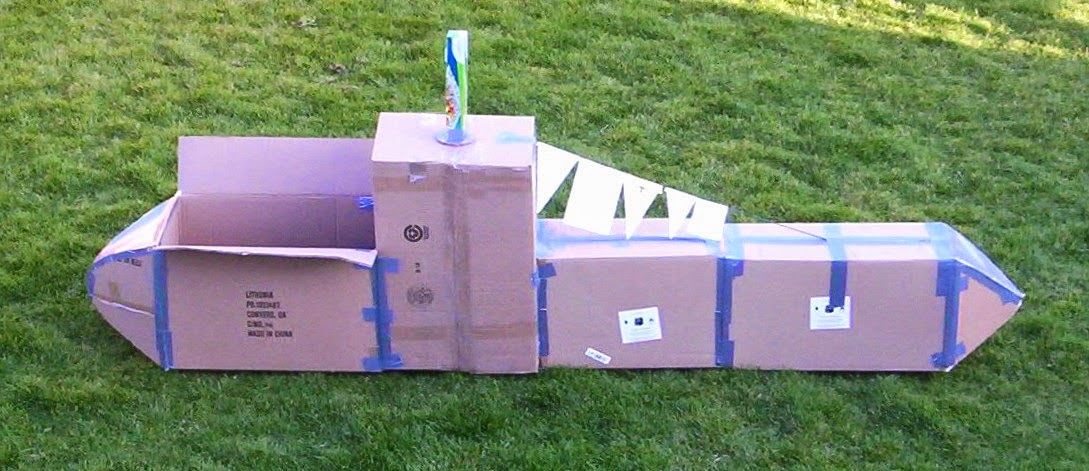 almost unschoolers cardboard box submarine