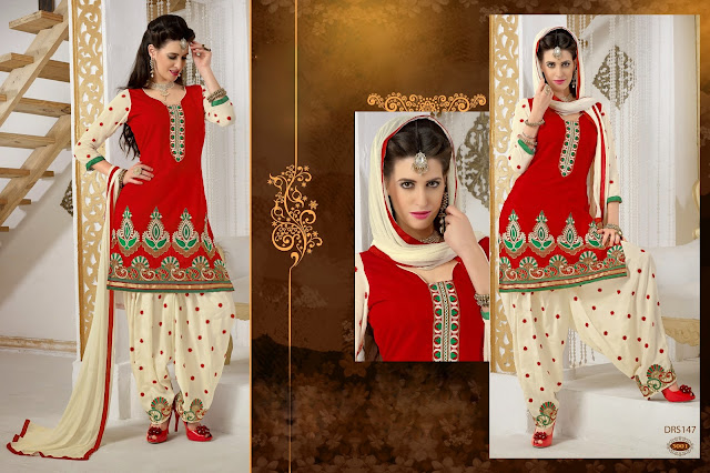 Chanderi Cotton Patiyala Salwar Kameez Unstitched Designer Suit