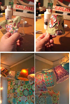 Lamparitas con papel de regalo en RI