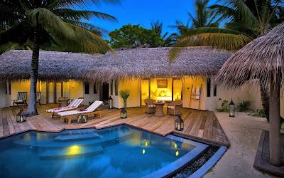 Casas en la costa con palmeras y piscina