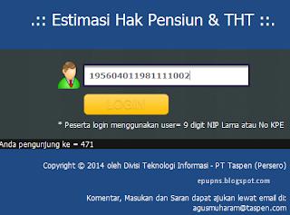 http://e-klim.taspen.com/eklim/estimasi/ cek tunjangan hari tua dan gaji jika pensiun untuk PNS