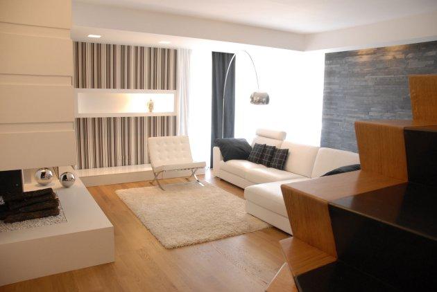 Sala blanca comedor rayado salas y comedores decoracion for Comedores minimalistas