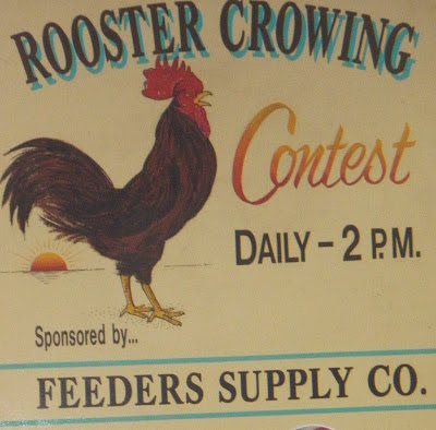 a poster with a large brown crowing rooster for the rooster crowing contest at the state fair