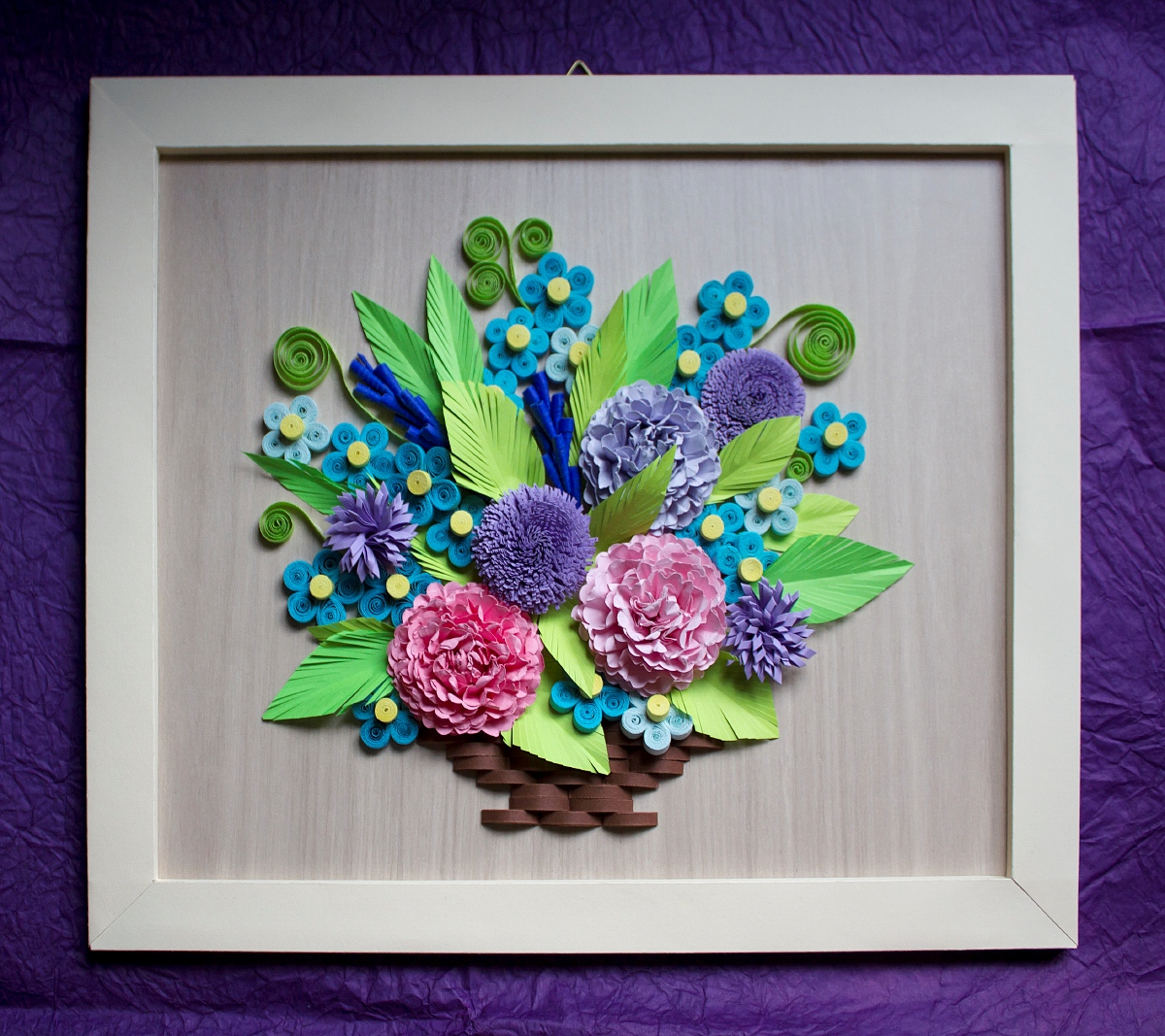 Paprvilg Virgos Kosr Tabln Quilled Flower Basket Wall Picture