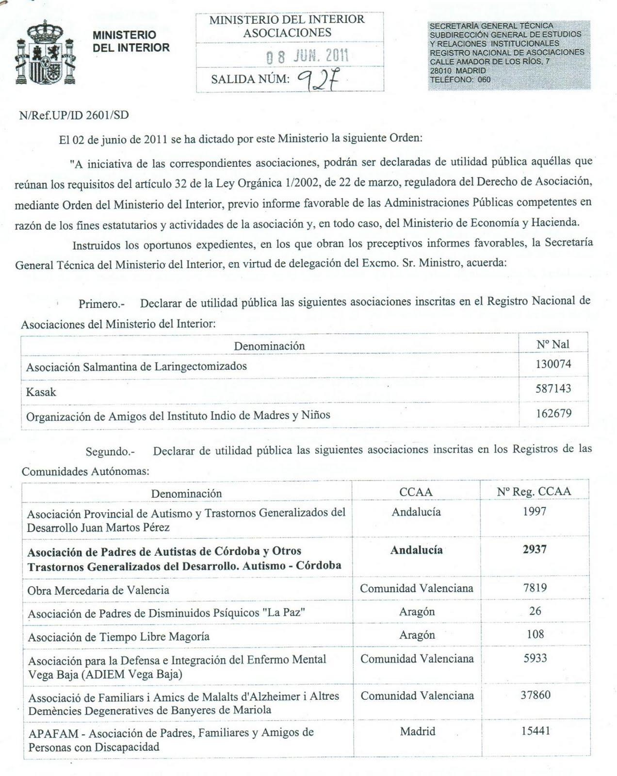 Autismo c rdoba declarada de utilidad p blica la asociaci n for Ministerio del interior cordoba