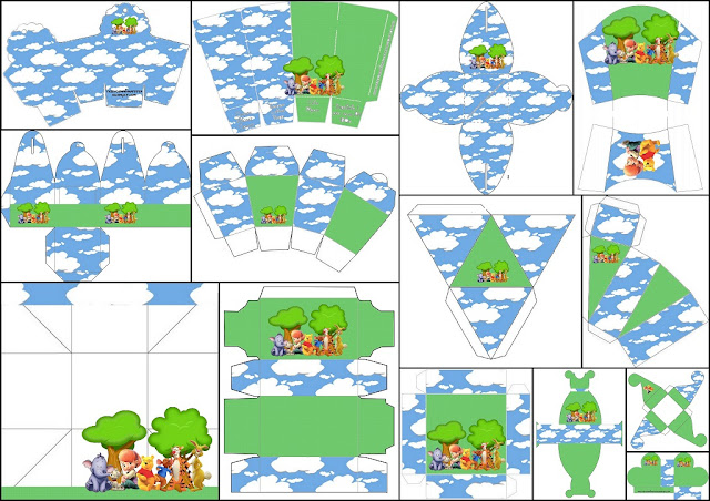 Winnie the Pooh: Cajas para Imprimir Gratis.