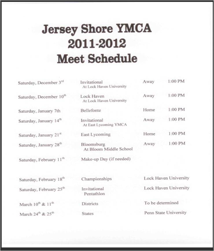 ymca swim meet schedule