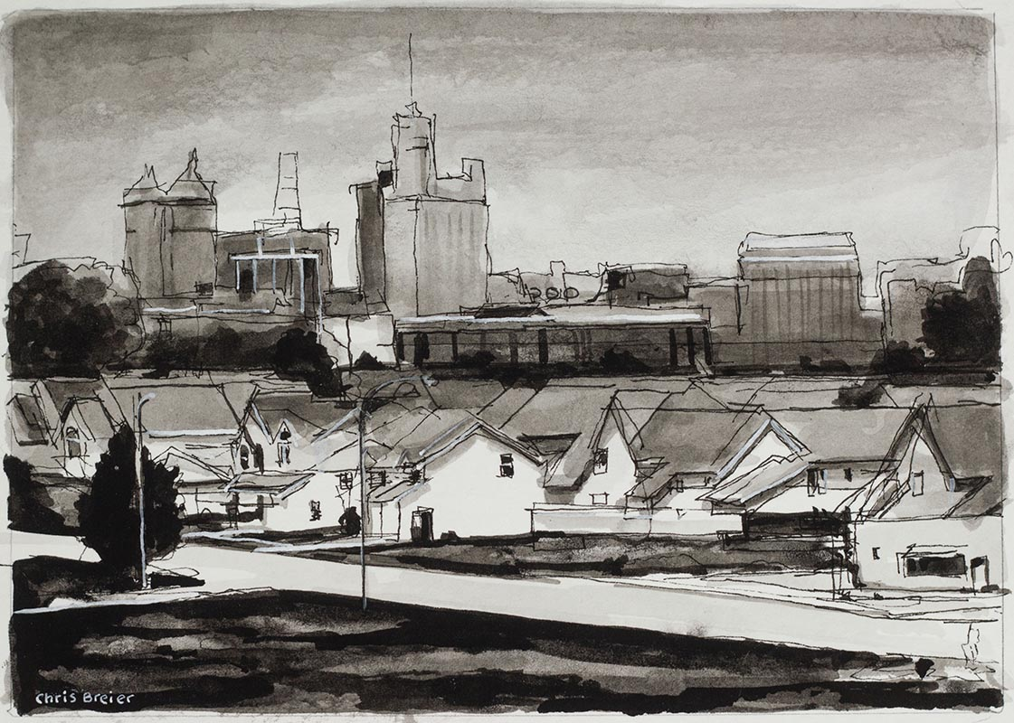 Ink drawing of Seneca Street, Buffalo NY