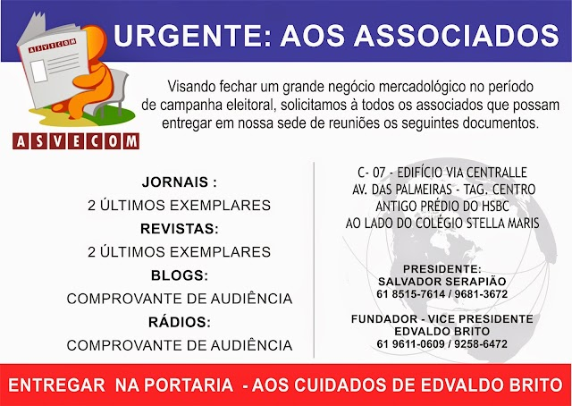 URGENTE! AOS ASSOCIADOS ASVECOM