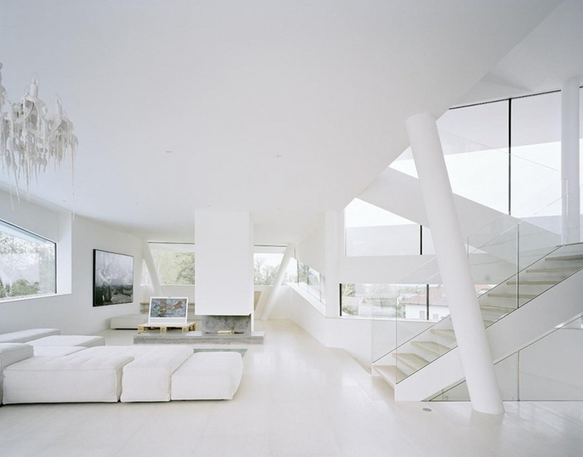 White interiors of Villa Freundorf by Project A01 Architects
