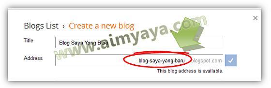 Gambar: Memberi alamat blog
