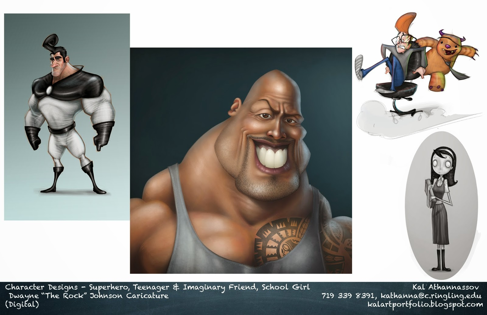 Character designs girl hero the rock caricature