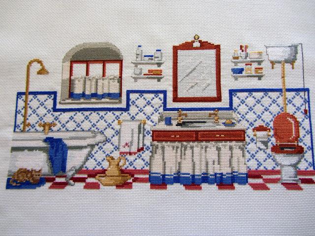 cuadros de cuarto de baño de punto de cruz | facilisimo.com