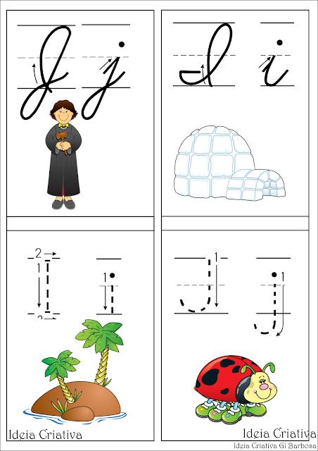 Alfabeto com setas e números- Flash cards