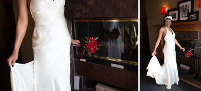 Courtney in her wedding dress at the Salish Lodge- Patricia Stimac, Seattle Wedding Officiant