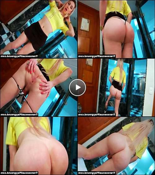 blonde tranny shows cum video