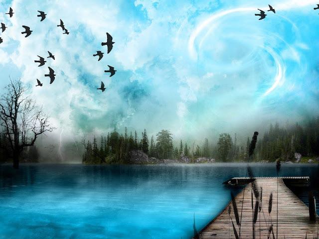 Artistic lakeside 3D nature wallpaper