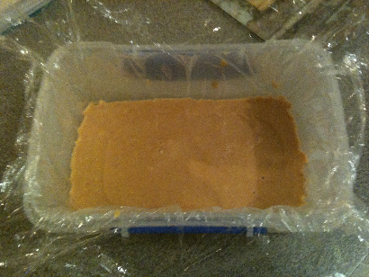 Paleo Salted Peanut Butter Fudge in container