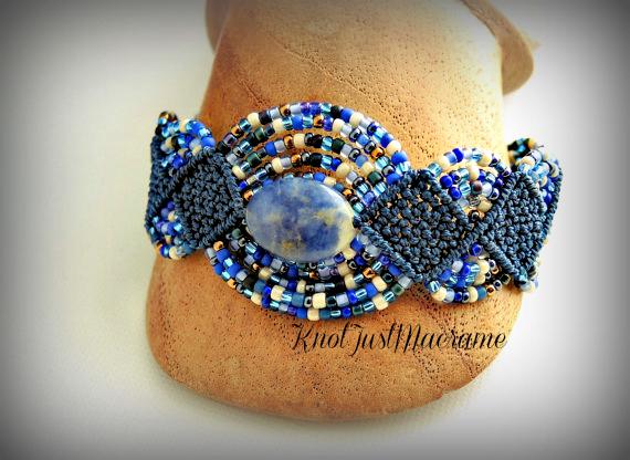 Sodalite micro macrame bracelet by Sherri Stokey.