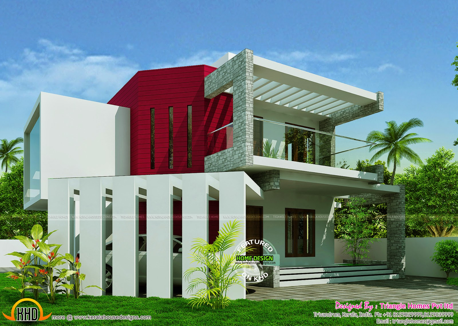 Classic contemporary house kerala home design and floor for Modern house 52