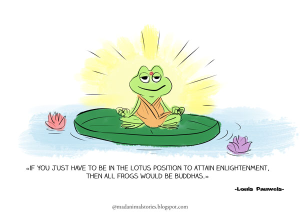 if you just have to be in the lotus position to attain enlightenment,then all frogs would be buddhas
