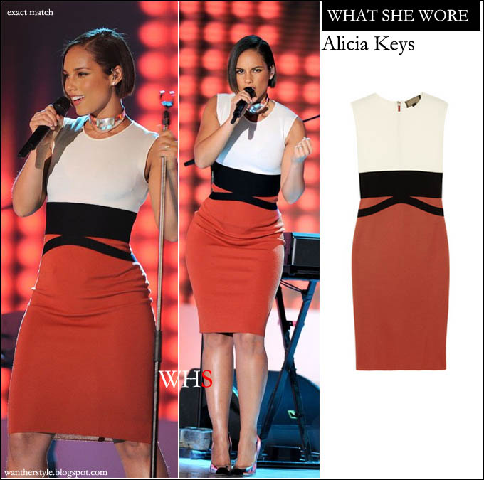 WHAT SHE WORE: Alicia Keys in white black and orange colorblock ...