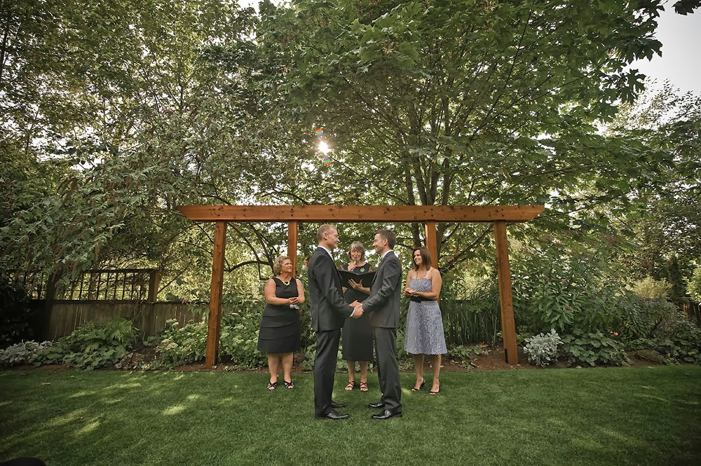 Mark and Mike wed outside at the Hall at Fauntleroy - Patricia Stimac, Seattle Wedding Officiant