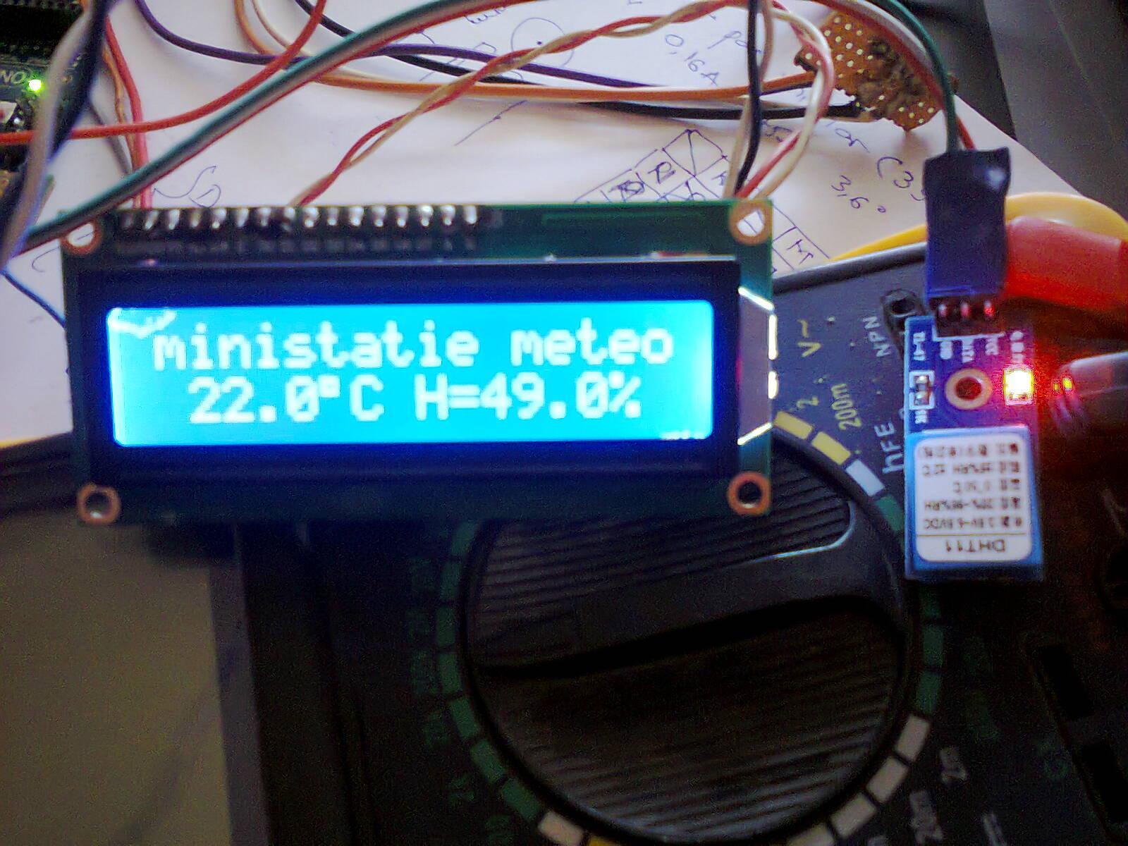 Ministatie meteo cu senzorul dht si arduino electrodb ro