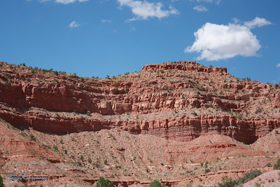 A beautiful Red Rock mountain with blue skies in southern Utah