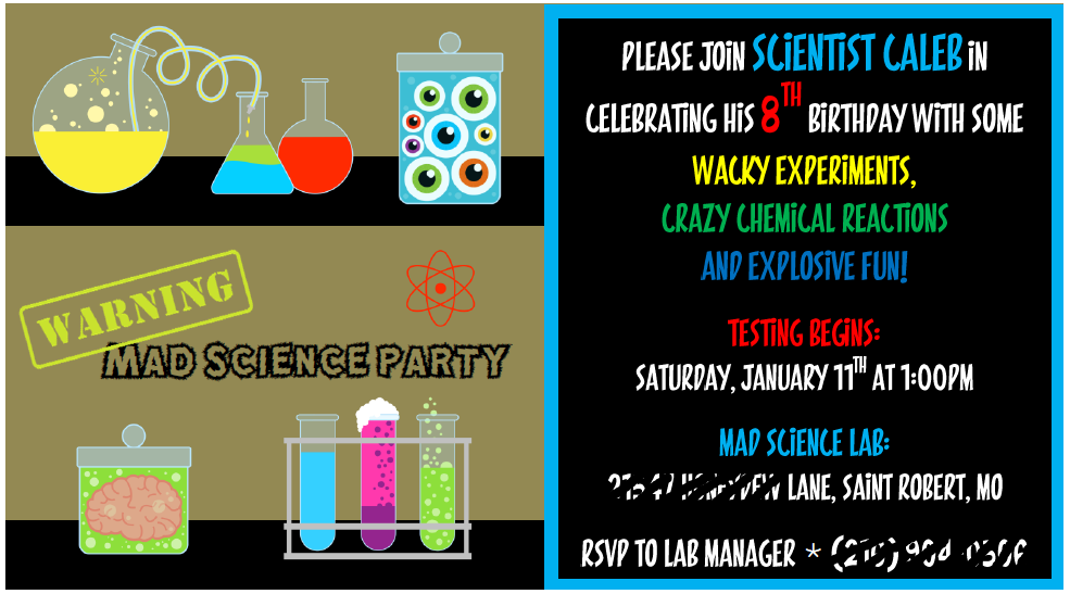 Party at the Beech Calebs Mad Science Party – Mad Scientist Birthday Party Invitations