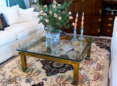 Spray Paint Brass Coffee Table Makeover