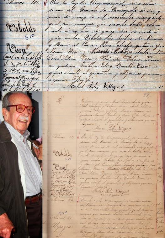 Oswaldo Ossa Ossa  Partida de nacimiento de 1917