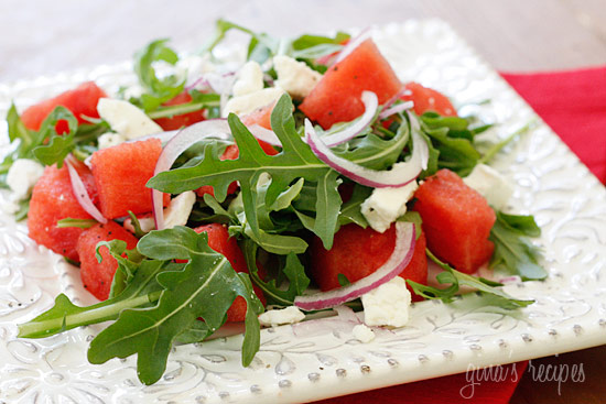 ... salad, made with sweet watermelon, peppery arugula and feta cheese