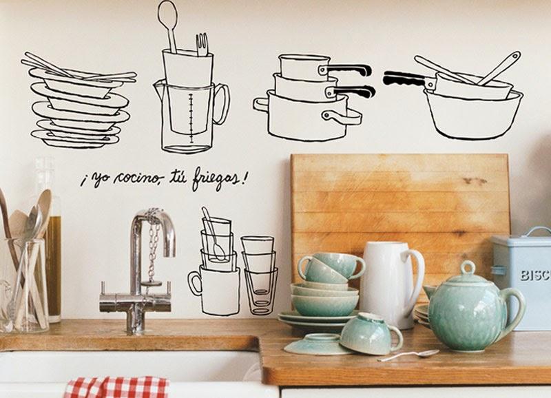 Creativas ideas de c mo dibujar tus paredes maria victrix - Pegatinas para cocinas ...