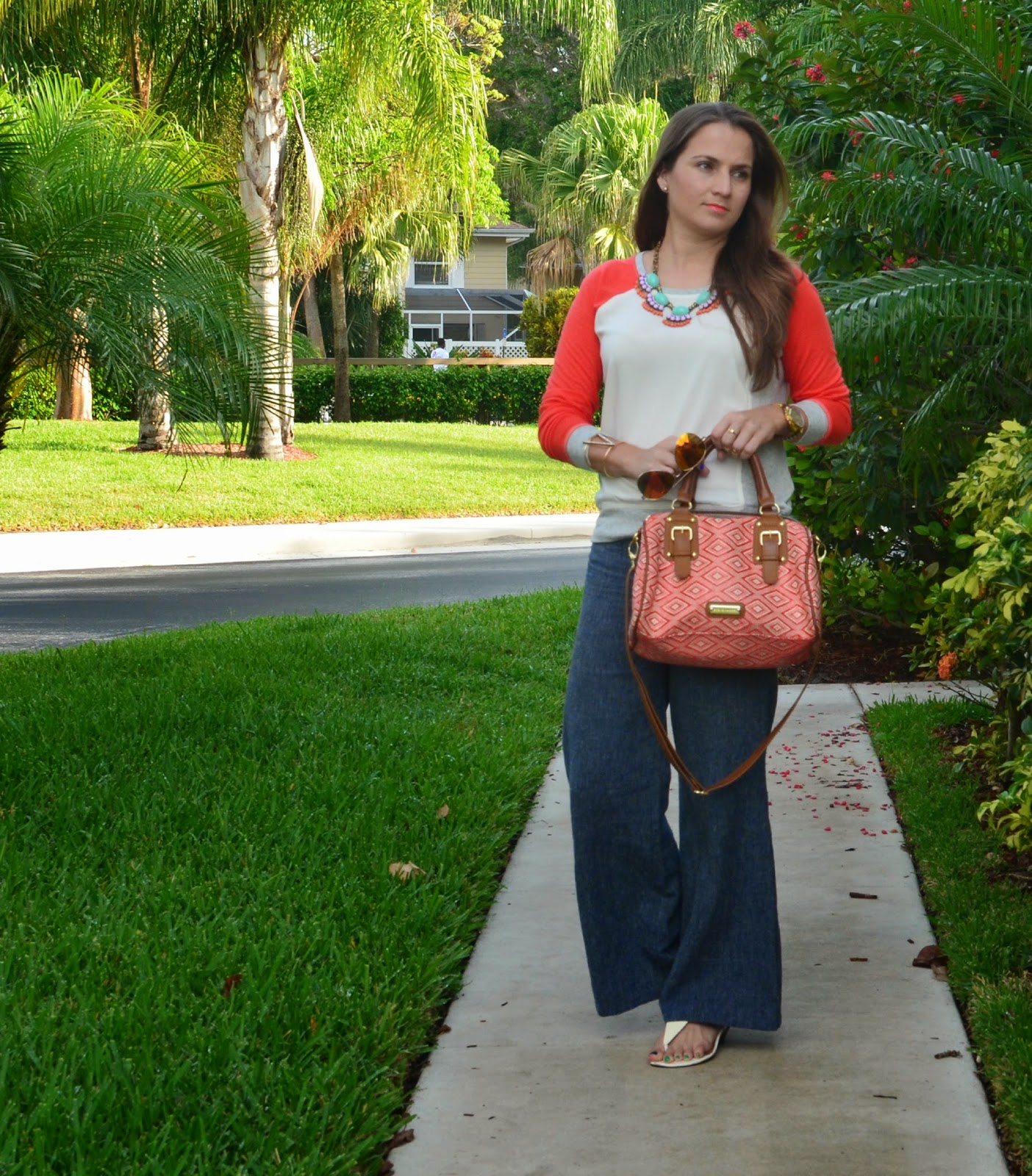 Baseball tee - white sandals - woven bag - gold cuff