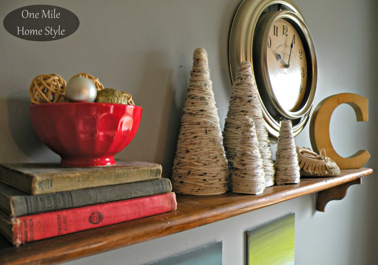 Yarn Trees and Christmas Balls and VIntage Books Vignette