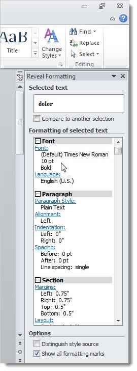 Sử dụng tính năng Reveal Formatting trong Word 2010 2