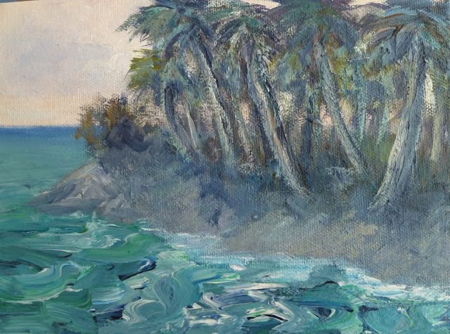 Coastal Decor Painting of  a seascape with Palm Trees