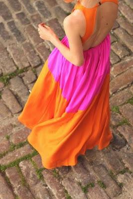 pink and orange dress, fashion blog