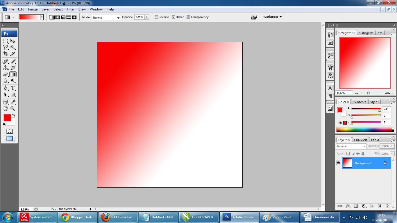 Jika berhasil maka warnanya akan seperti ini (merah-putih)