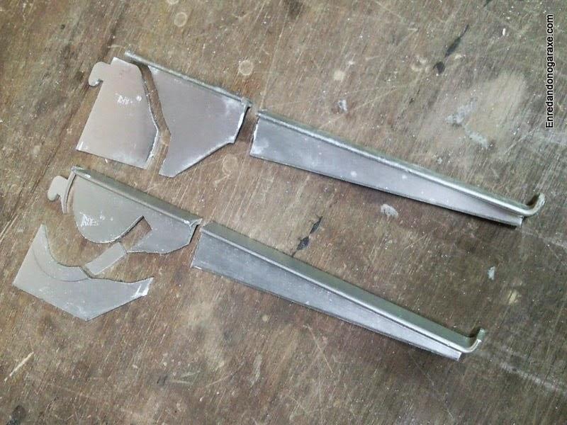 Aluminio cortado con la sierra de marquetería de arco. Enredandonogaraxe.com