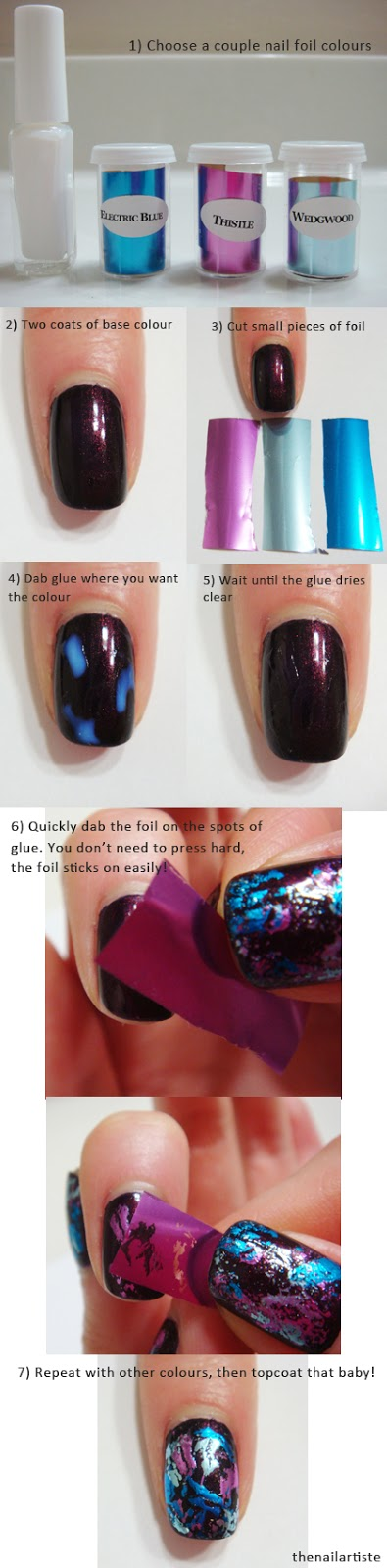The Nail Artiste: Paint splatter effect with nail foil